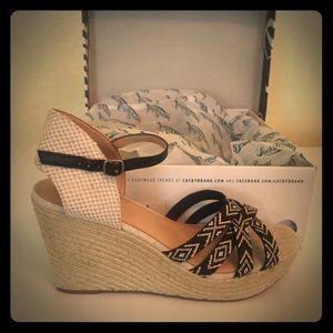 Lucky Mahima Wedge Sandals. New in box.